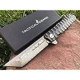 TG Rogue XT, Real Damascus! Black Titanium (TiN) Stainless Steel EDC Folding Knife w/Sheath! Ball Bearing Pivot System! Razor Sharp Damascus Blade! (Tanto Blade) (Color: Tanto Blade)