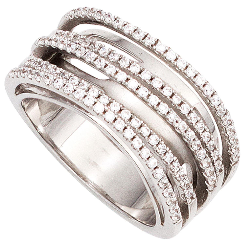 Damen Ring 925 Sterling Silber rhodiniert mit Zirkonia schenken