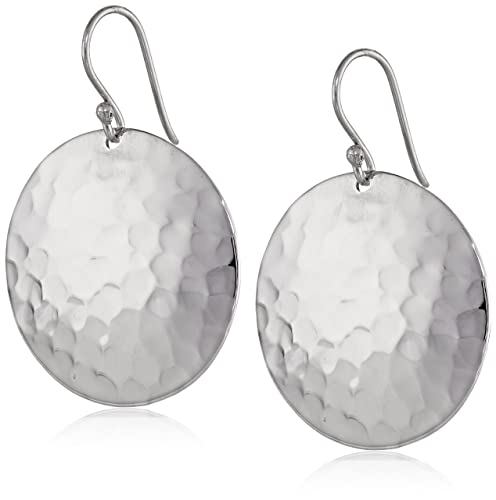 Sterling-Silver-Hammered-Round-Disc-Drop-Earrings