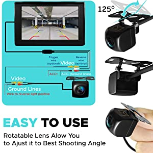 Backup Camera Night Vision - HD 1080p - Car Rear View Parking Camera - Best 170° Wide View Angel - Waterproof Reverse Auto Back Up Car Backing Camera - High Definition - Fits All Vehicles by Yanees