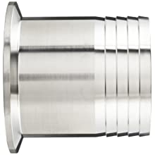 "Parker Sanitary Tube Fitting, Stainless Steel 304, Rubber Hose Adapter, 2"" Tube OD x 2"" Hose ID"