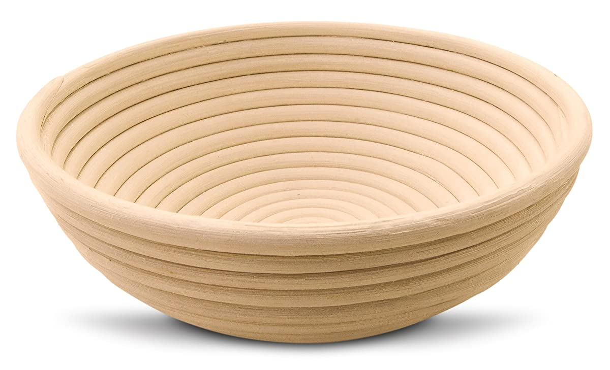 "9"" Inch Round Banneton Proofing Basket for Artisan Bread And Dough. E-Book Included With Instructions, Ideas And Recipes. Eco-Friendly Rattan Cane Brotform With Rising Pattern For Artisan Baking."