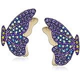 Betsey Johnson (Gbg) Pave Butterfly Stud Earrings, Purple, One Size (Color: Purple, Tamaño: One Size)