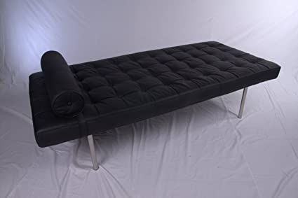 Barcelona Day Bed in Black full aniline Italian leather