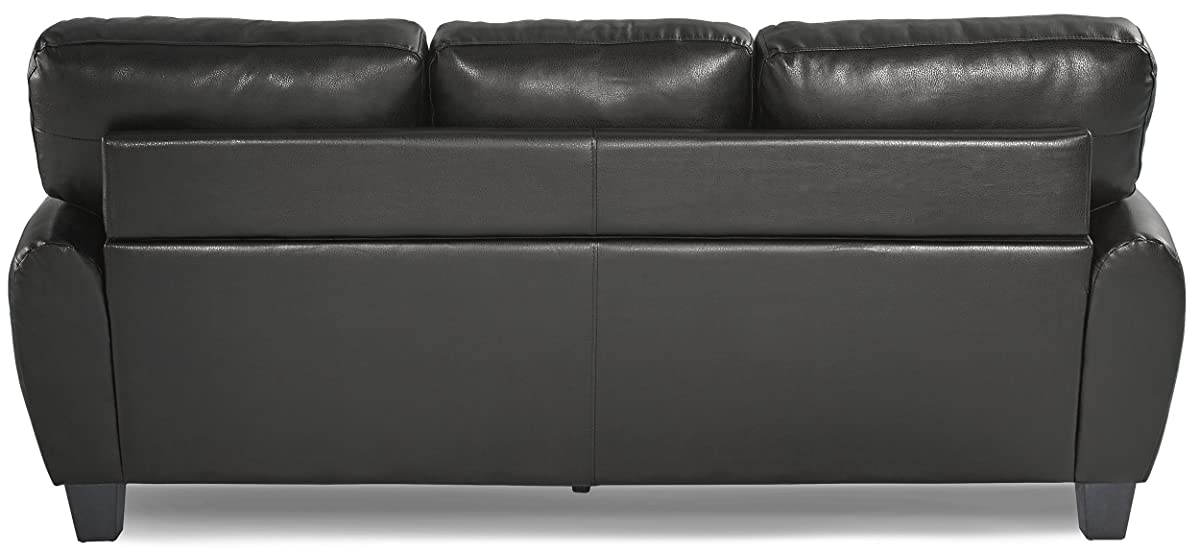 Homelegance 9734BK-3 Upholstered Sofa Bonded Leather Match, Black