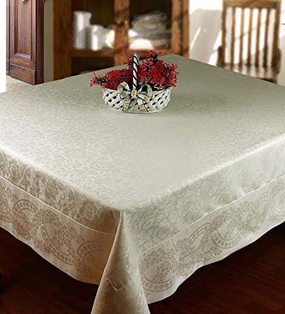 Ivory Jacquard Tablecloth