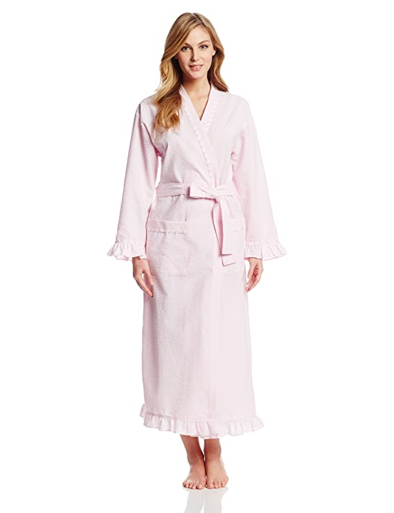 Eileen West Women's Winsome Muse Seersucker 52 Inch Wrap Robe