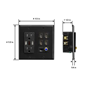 Premium Media Wall Outlet | Dual 3.4A USB Outlet - 15A Dual Power Outlet - Cat6 Rj45 Ethernet Port - 4 HDMI Port - Coax Cable Wall Plate - Black Dual Gang Face Plate (Color: Black)