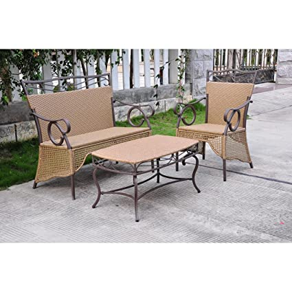 International Caravan Valencia 3 pc. Resin Wicker Skirted Settee Group