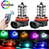 LinkStyle 2PCS H8/H11 RGB Multi-Color Changing Brightness Modes Adjustment LED Car Safe Driving Headlight Fog Light Lamp Bulbs with Remote Control (Color: H8/H11)