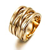 13.7MM Stainless Steel Cross Ring Women Girls Statement Cocktail Ring Jewelry Rose Gold/Gold Plated (Color: B:cross gold rings)