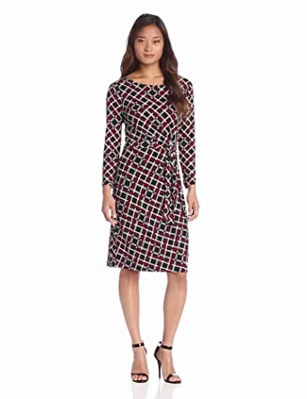 Anne Klein Women's Plaid Print Faux Wrap Dress, Black Multi, Large