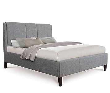 Otto-Garrison moderno tessuto di lusso Extra Imbottito letto, King size, grigio con tessuto