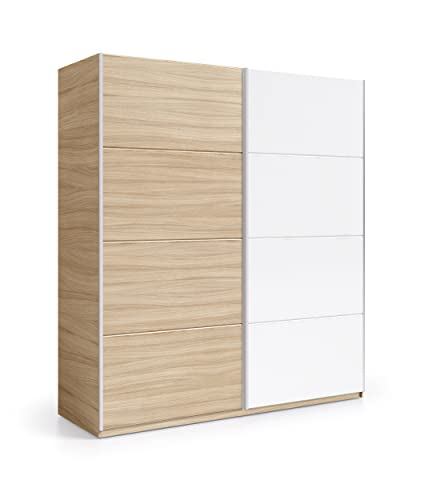 Donelle 180cm Wide 200cm Extra Large Light Oak & White 2 Door Sliding Wardrobe