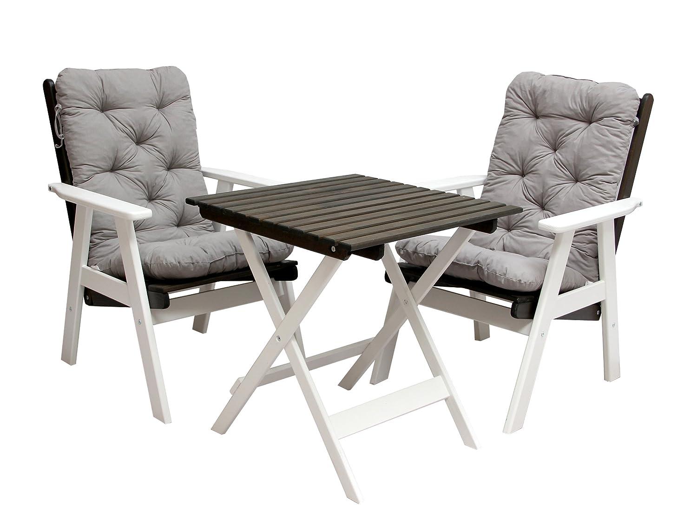 Ambientehome 90480 Balkonset  verstellbarer Hochlehner Stuhl Varberg inkl. graue Kissen und Klapptisch weiß/taupe grau braun 65x65 cm 5-teilig