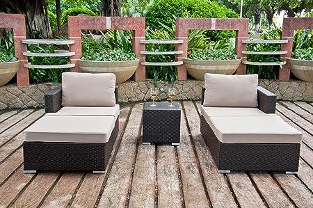 5-piece Outdoor or Indoor Patio Wicker Sectional Set