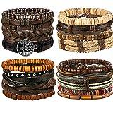 FIBO STEEL 17 Pcs Leather Bracelet for Men Women Woven Cuff Bracelet Adjustable (Color: A:17 Pcs a Set)