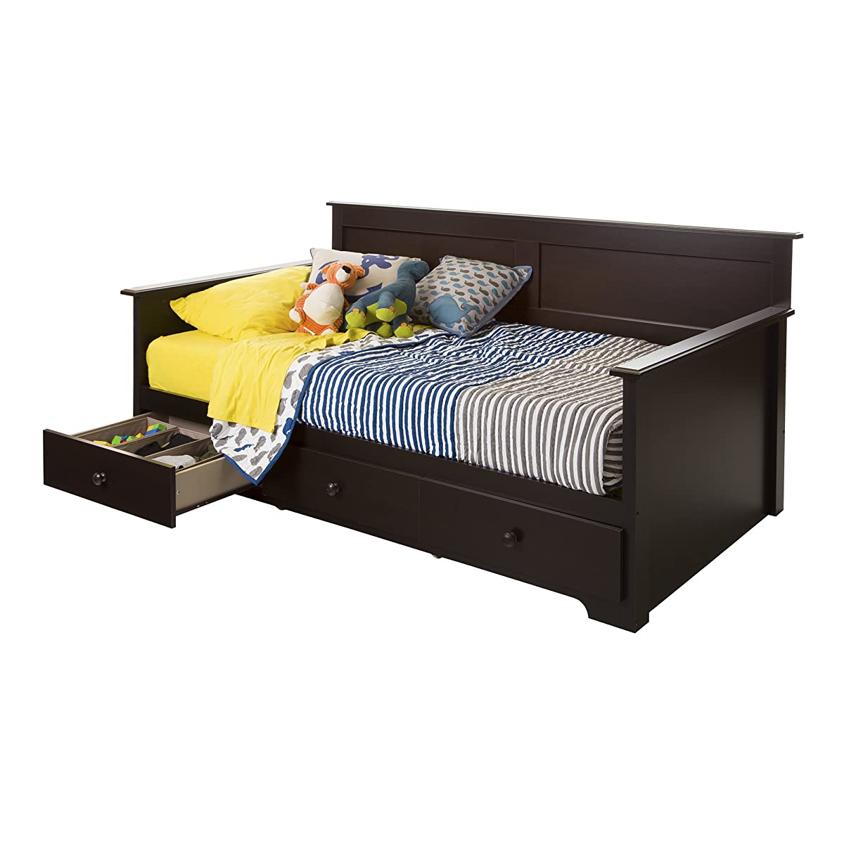 "South Shore Summer Breeze Twin Day Bed with Storage (39""), Chocolate"