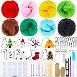 Outkitkit Christmas Needle Felting Kit - Holiday Wool Roving Kit with Wool Felt Tools & Christmas Needle Felting Mold Felting Supplies for Starter (Color: Christmas style)