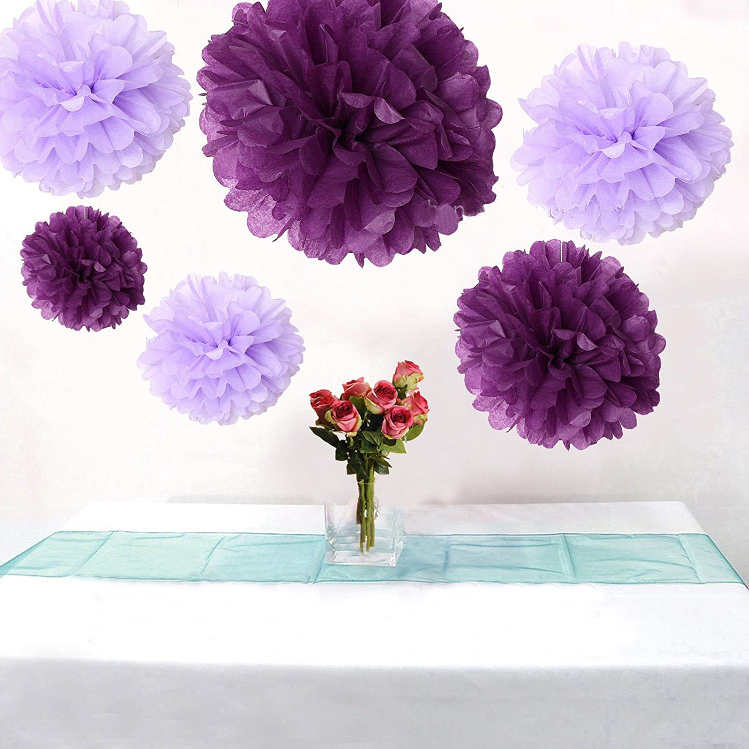 12PCS Mixed Sizes Purple And Lavender Tissue Paper Flower Pom Poms Pompoms Wedding Birthday Party Decoration