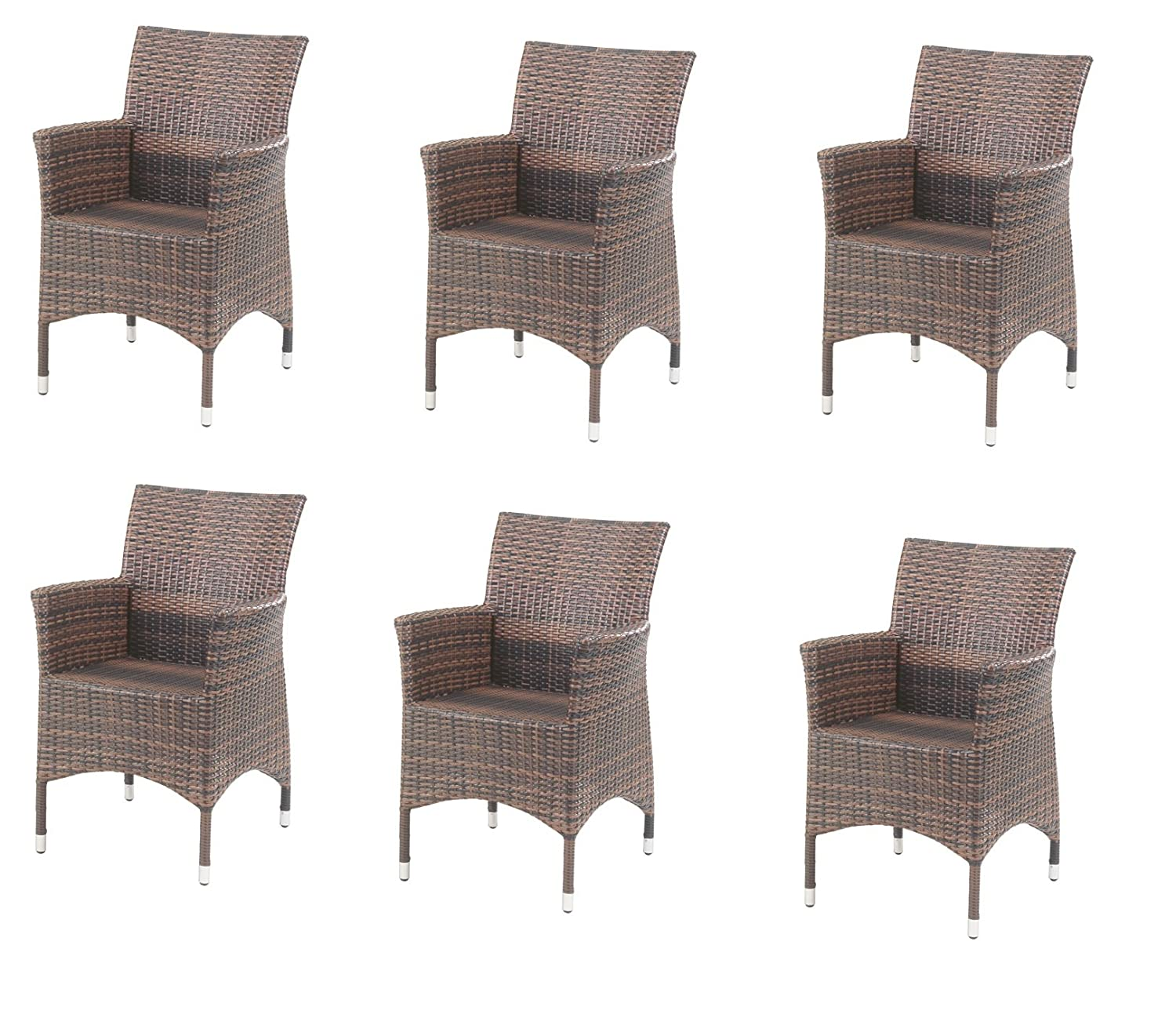 6 st ck alu diningsessel rattan geflecht dani moccabraun 945356 online bestellen. Black Bedroom Furniture Sets. Home Design Ideas