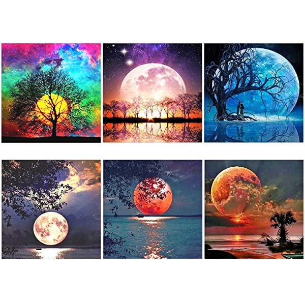 XPCARE 6 Pack 5d Diamond Painting Kits Full Drill Rhinestone Moon Diamond Dotz Pictures for Home Wall Decor(12 X 12 Inch) (Tamaño: 12x12inch)