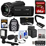 Panasonic HC-V770 Wireless Twin Recording Wi-Fi HD Video Camera Camcorder + 64GB + Battery/Charger + Backpack + Filters + LED Light + Mic + Stabilizer Kit (Color: Black, Tamaño: Backpack Kit)