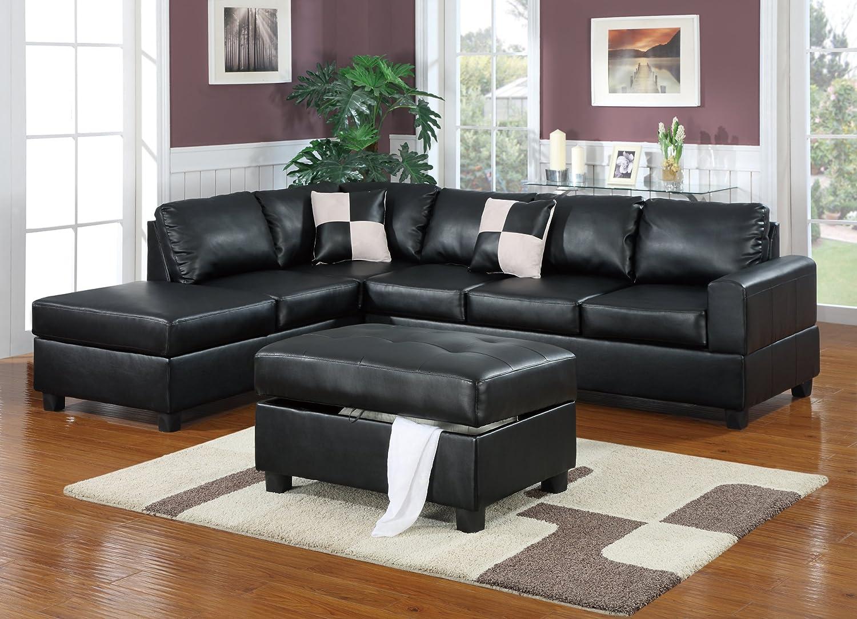 Bobkona Hampshire Collection 3-Piece Sectional Sofa, Black