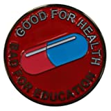 Die Cast Pin Akira Good for Health Bad for Education Cyberpunk Neo-Tokyo by Titan One (Color: red, blue, black, white, Tamaño: 1 inch)