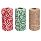 Sunmns 3 Rolls Christmas Cotton Twine and Natural Jute String Rope for Gift Wrapping Tag Ornaments (Color: Multicolored 2)