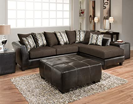Chelsea Home Furniture Zeta 2-Piece Sectional, Jefferson Chocolate/Rip Sable