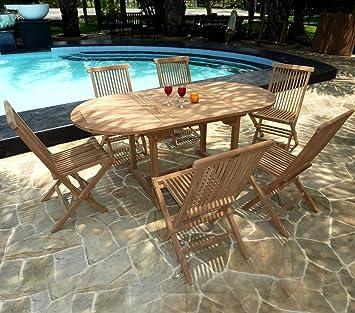 Mobili da giardino, Set di 6 sedie Bali, in legno teak greggio