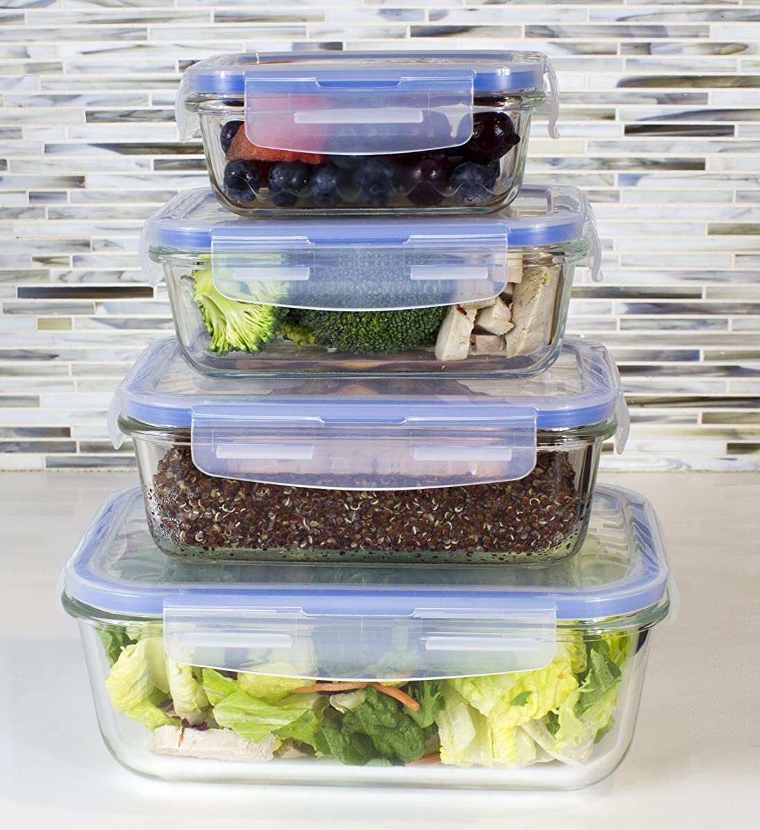 [Premium 4 Sets] Glass Meal Prep Food Storage Container with Snap Locking Lid, Glass Meal Prep Containers BPA-Free, Microwave, Oven, Freezer, Dishwasher Safe (62 Oz, 28 Oz, 19 Oz, 11 Oz.)