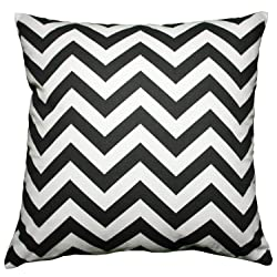 JinStyles Cotton Canvas Chevron Striped Accent Decorative Throw Lumbar Pillow Cover (Black & White Rectangular)