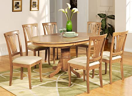 East West Furniture AVON5-OAK-C 5-Piece Dining Table Set, Saddle Brown Finish
