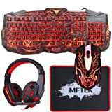 MFTEK Backlit Wired Gaming Keyboard and Mouse Combo with LED Gaming Headset Set, 40mm Speaker Driver Headphone + Mouse Pad for PC Gamer Computer Office (Color: Red Keyboard Combo)