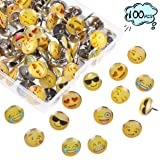 FINGOOO 100PCS Emoji Thumbtacks Face Emotion Drawing Cute Smiley Pushpins for Home, Office Cork Board, Plasterboard,with Clear Storage Box (Color: Emoji)
