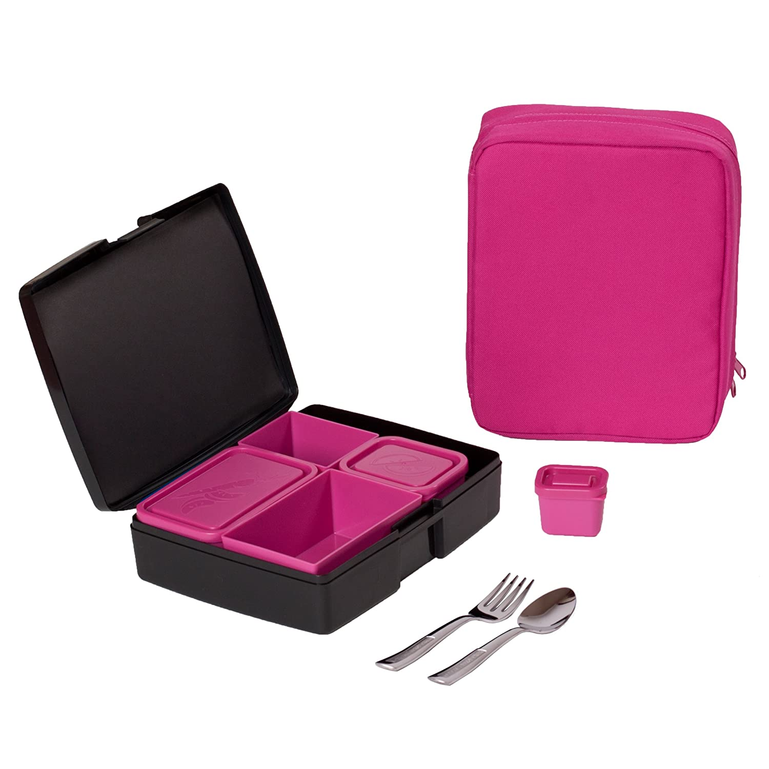 Bento Lunch Box Combo - Includes Bento Box, Insulated Sleeve and Utensils - Perfect for School and Travel - Black/Pink
