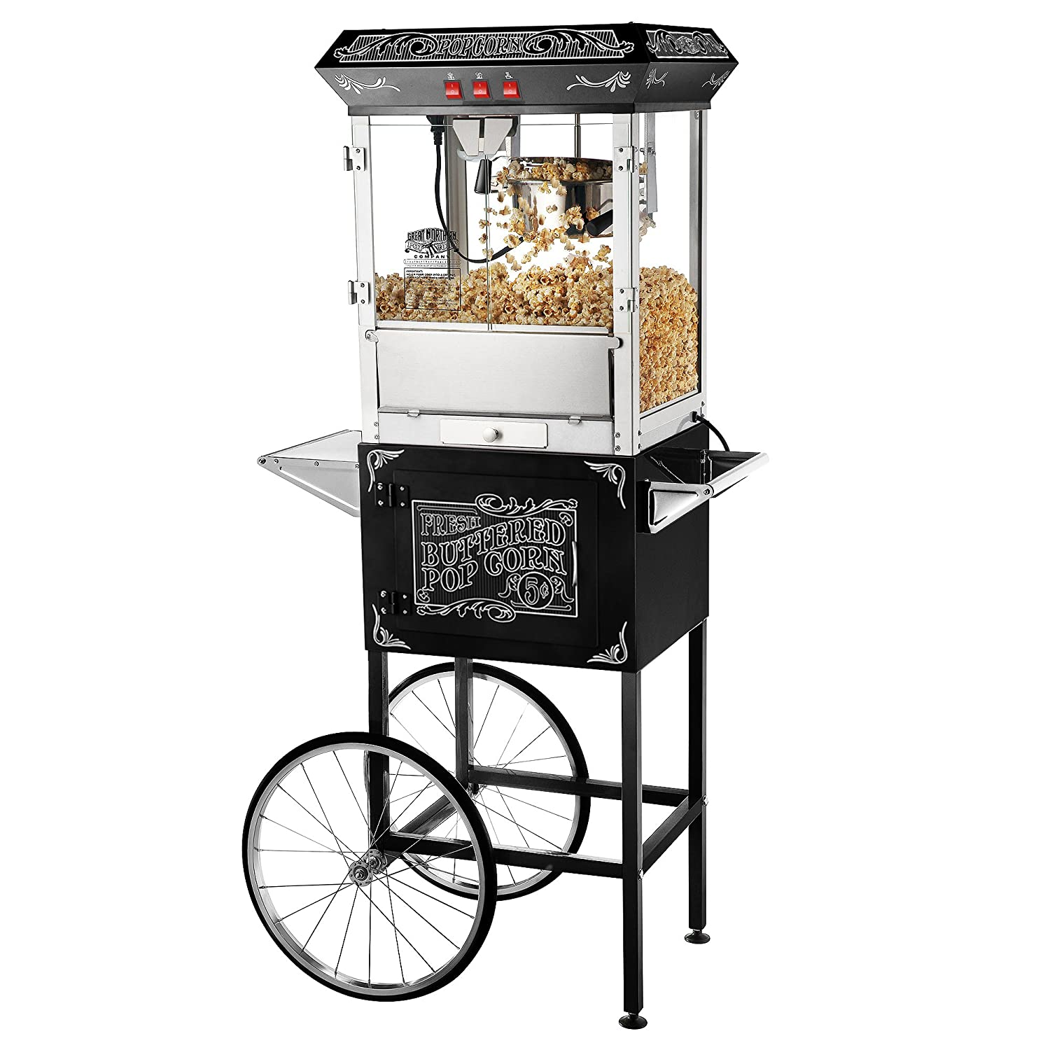 Best Great Northern Popcorn Old Time Popcorn Popper Machine with Cart, 8-Ounce, Black
