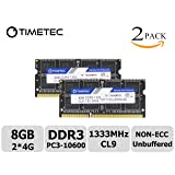 Timetec Hynix IC 8GB Kit (2x4GB) DDR3 1333MHz PC3-10600 Non ECC Unbuffered 1.5V CL9 1Rx8 Single Rank 204 Pin SODIMM Laptop Notebook Computer Memory Ram Module Upgrade(High Density 8GB Kit (2x4GB))