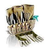 Scuddles Garden Tools Set - 8 Piece Heavy Duty Gardening Tools with Storage Organizer, Ergonomic Hand Digging Weeder, Rake, Shovel, Trowel, Sprayer, Gloves Gift for Men & Women (GB-01)