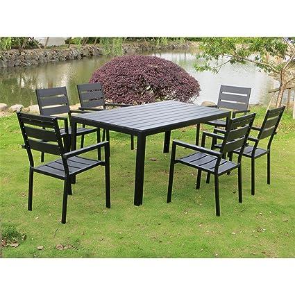 La ARIZONA-Juego de mesa y sillas de jardín de 6 plazas polywood