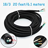 18/3 20Ft Vintage Electrical Wire Rayon Covered Lamp Cord Braided Black 18 AWG 3 Conductor Flexible Fabric Pendant Lighting Power(10A) (Color: 5- 20ft, Tamaño: 18/3)