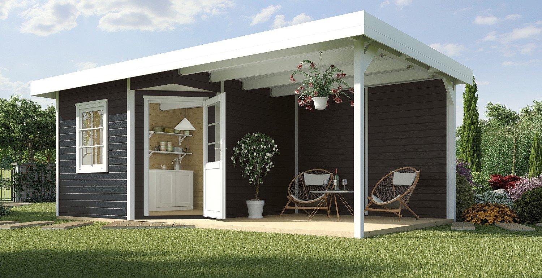 Weka Gartenhaus 5-Eck-Haus Fides 3 Gr 1 anthrazit Anbau 300 cm