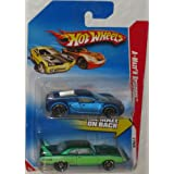 Hot Wheels 2-Pack A-Maze'N Speedway 2010 Pearl Blue Bugatti Veyron & Green Plymouth Superbird 1:64 Scale Collectible Die Cast Car Models