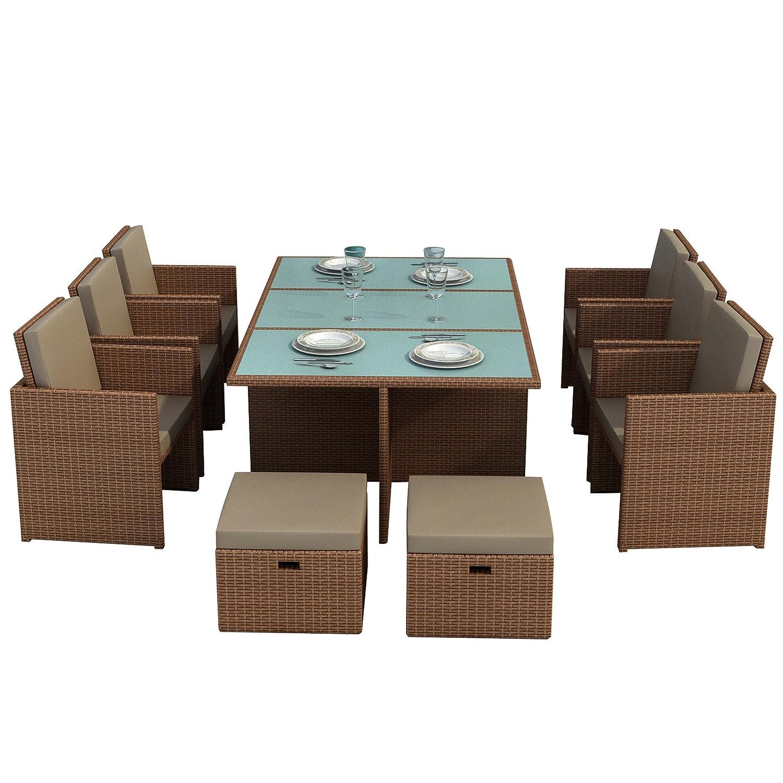 Gartenmöbel Bali hellbraun - Essgruppe Garten Möbel Tisch mit 6 Stühlen und 4 Hocker incl. Glas und Sitzkissen