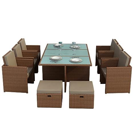 Gartenmoebel Bali hellbraun - Essgruppe Garten Moebel Tisch mit 6 Stuhlen und 4 Hocker incl. Glas und Sitzkissen Garten Rattan Polyrattan Gartenausstattung von Jet-Line