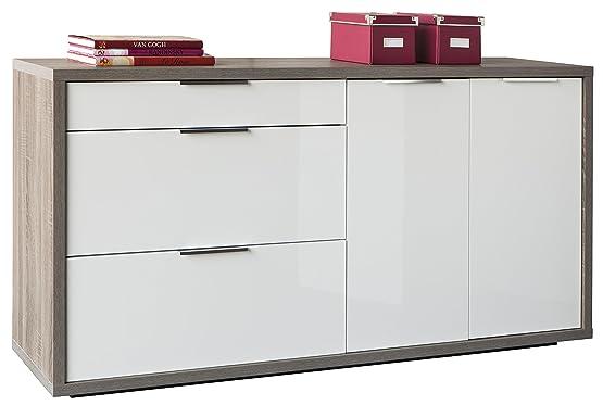 Base soggiorno a tre cassetti e due ante, con struttura color rovere tartufo e frontali laccati bianchi lucidi