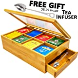 Tea Box 100% Bamboo Tea Box Chest Organizer With Slide Out Drawer, 8 Storage Compartments Clear Shatterproof Hinged Lid By Sugarman Creations (Color: Bamboo)