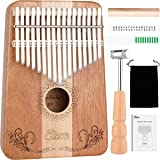Kalimba,Eison Kalimba Thumb Piano Finger Piano 17 keys with Key Locking System with Instruction and Tune Hammer, Solid Wood Mahogany & Maple Body- Best Christmas Gift for Music Fans Kids Adults,E-17 (Color: E17)